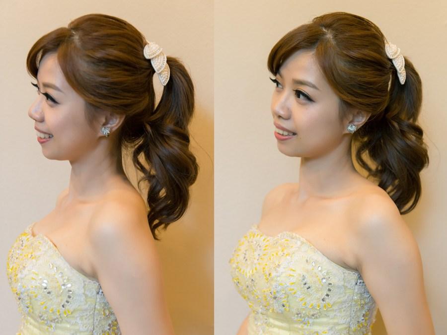新秘Yuki│新秘推薦│黃色禮服│高馬尾│新娘髮型