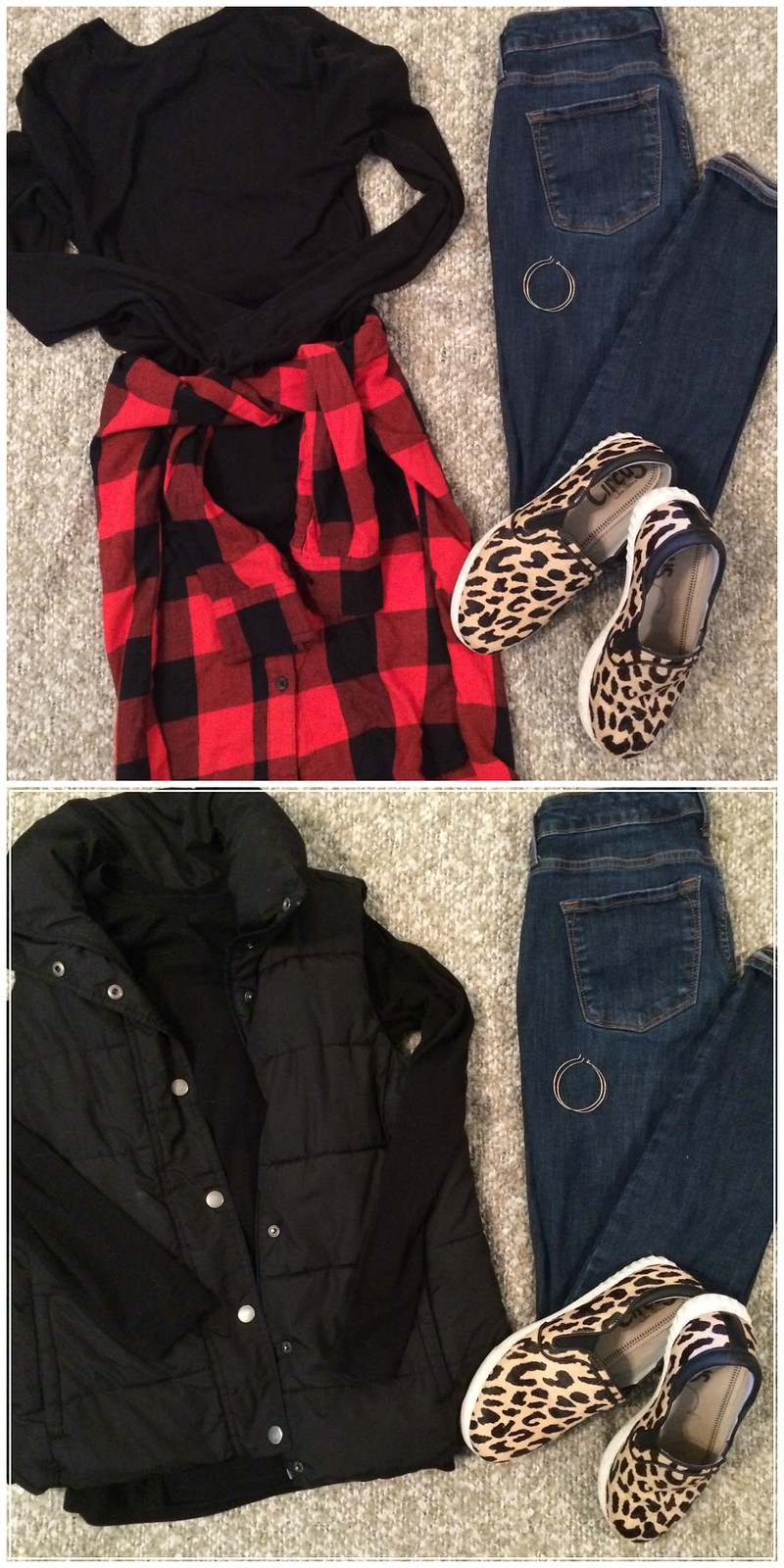 black shirt + buffalo check + black vest + leopard sneakers + skinny jeans + gold hoops