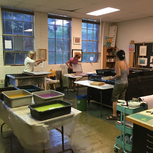 Helen Hiebert in Paper Making Studio