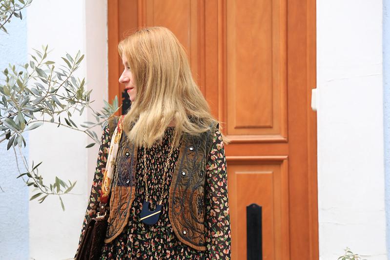 look style bohème robe imprimé fleuri et gilet sans manche gypsie