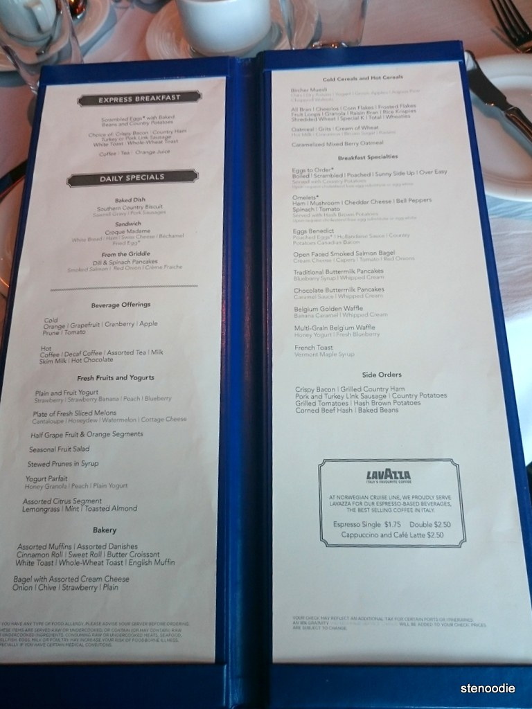 Breakfast menu at Savor Dining Room