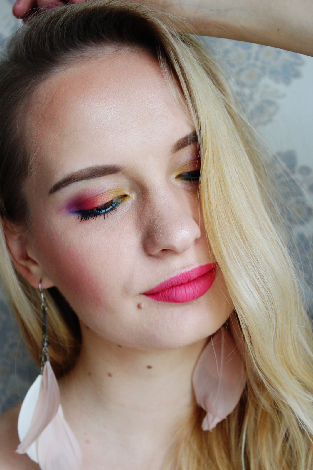Rainbow eyeshadow makeup look