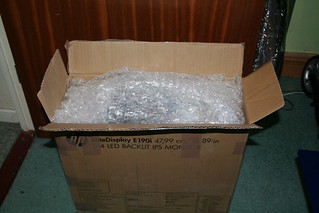 An open box filled with bubble wrap