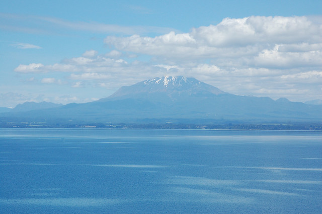 Views of Volcán Calbuco over Lago Llanquihue, Los Lagos, Chile