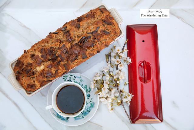 Dark Rye Bacon Cheddar Beer Bread baked in Pate Terrine Pan