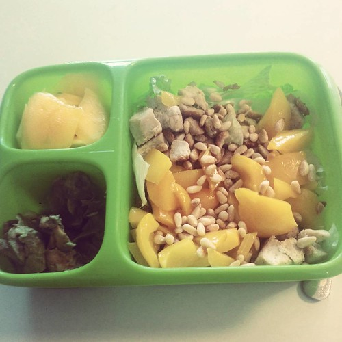 Today's lunch: mango, paprika, pijnboompitjes, kipblokjes en sla, en dat vieze ding in de linkerhoek is avocado. #lunch #lunchstagram #foodstagram #projectpaleo #projecthealthy #paleo