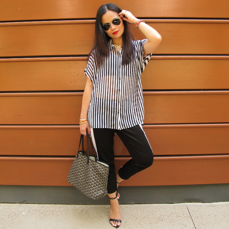 stripe on stripe pattern, outfit
