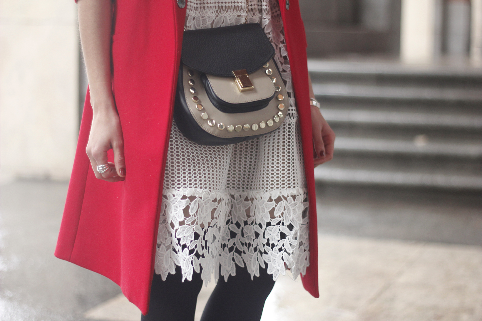 white lace dress with red coat uterqüe bag outfit style08