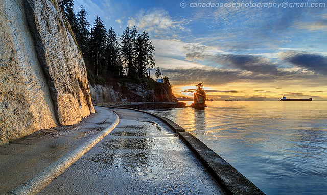 Seawall at Sunset