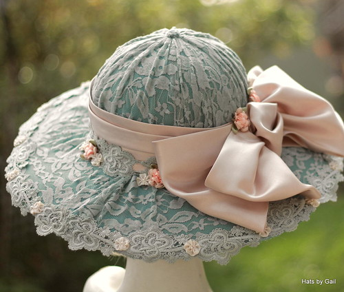 Shabby Chic Blue Pink Lace Hat