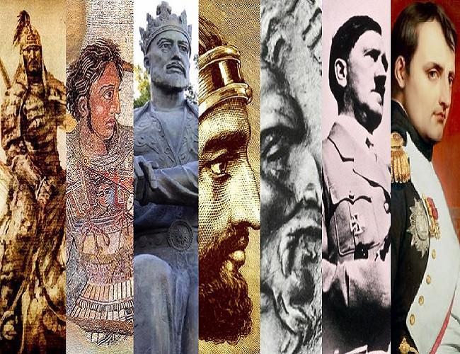 Os conquistadores Gêngis Khan, Alexandre, o Grande, Tamerlão, Ciro, o Grande, Átila, o Huno, Adolf Hitler e Napoleão Bonaparte contribuíram decisivamente para moldar o mundo como nós o conhecemos hoje. Montagem: autoria nas imagens em separado.