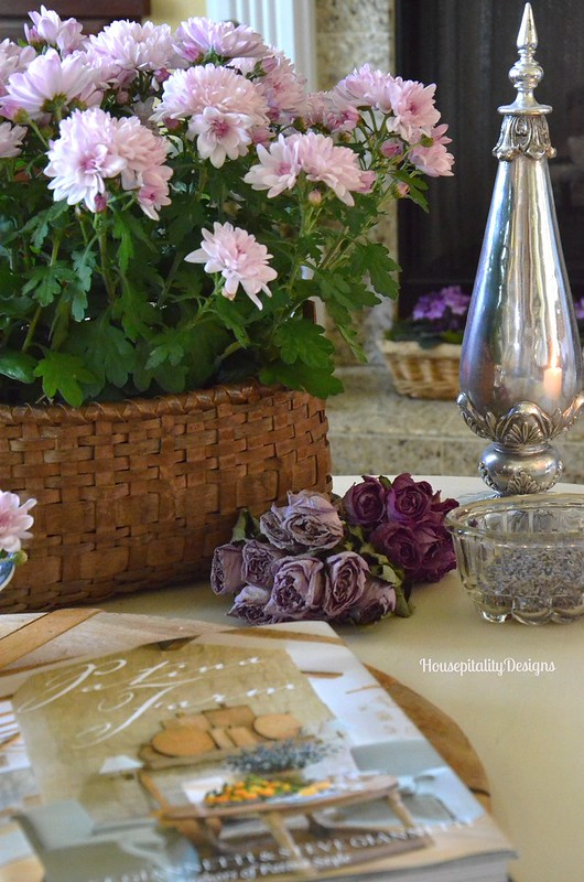 Antique Basket of Mums - Housepitality Designs