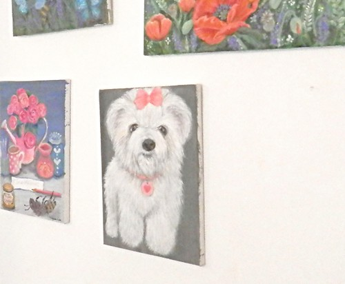 Puppy painting on my studio wall