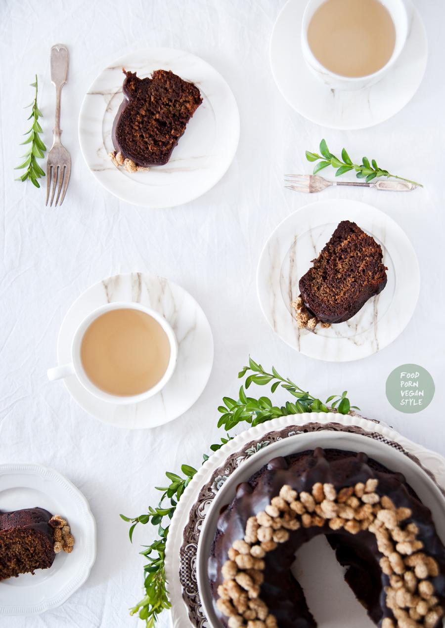 Vegan easter bundt cake with carob