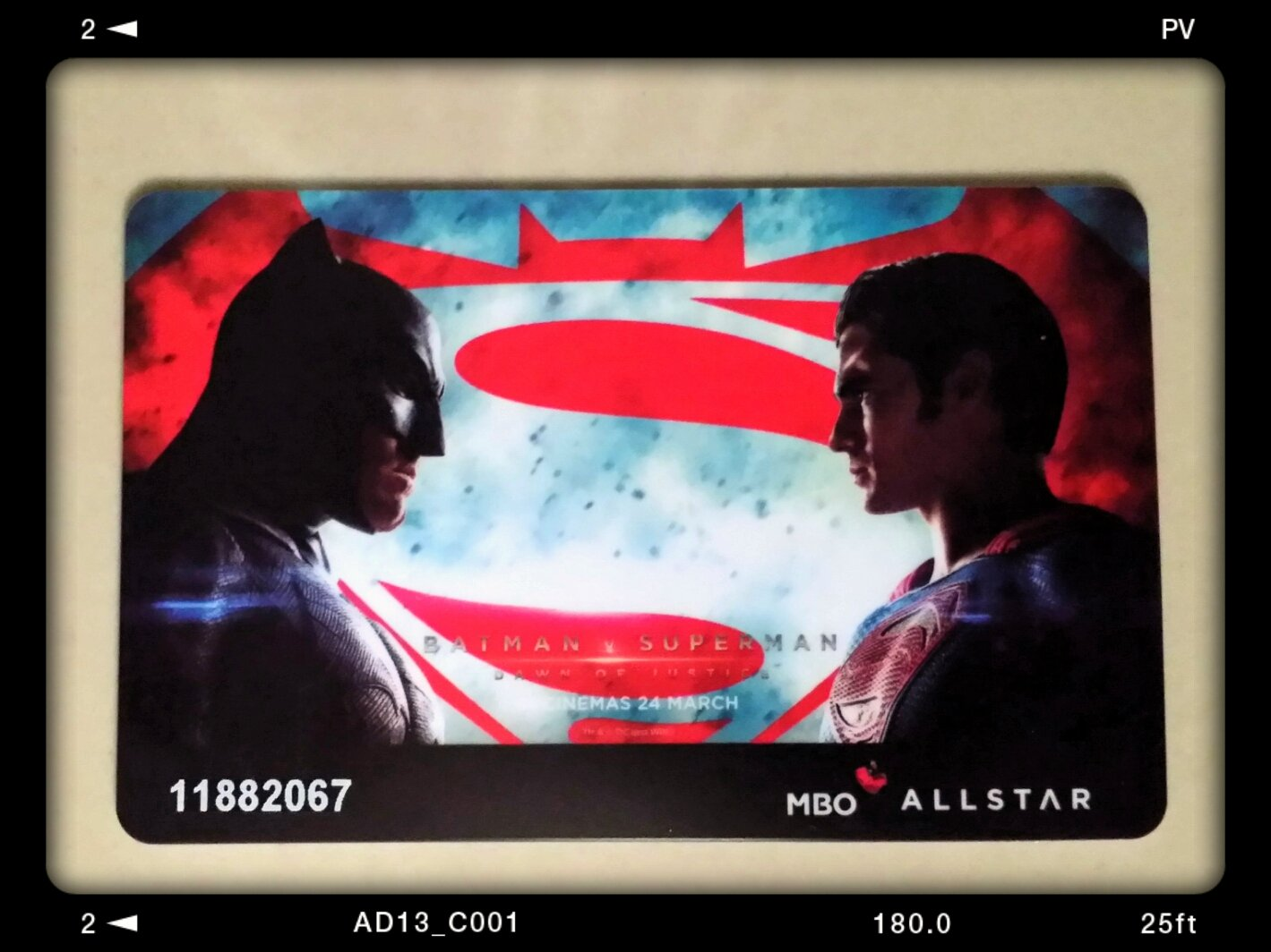 MBO Cinemas' Batman vs Superman: Dawn of Justice special edition membership card
