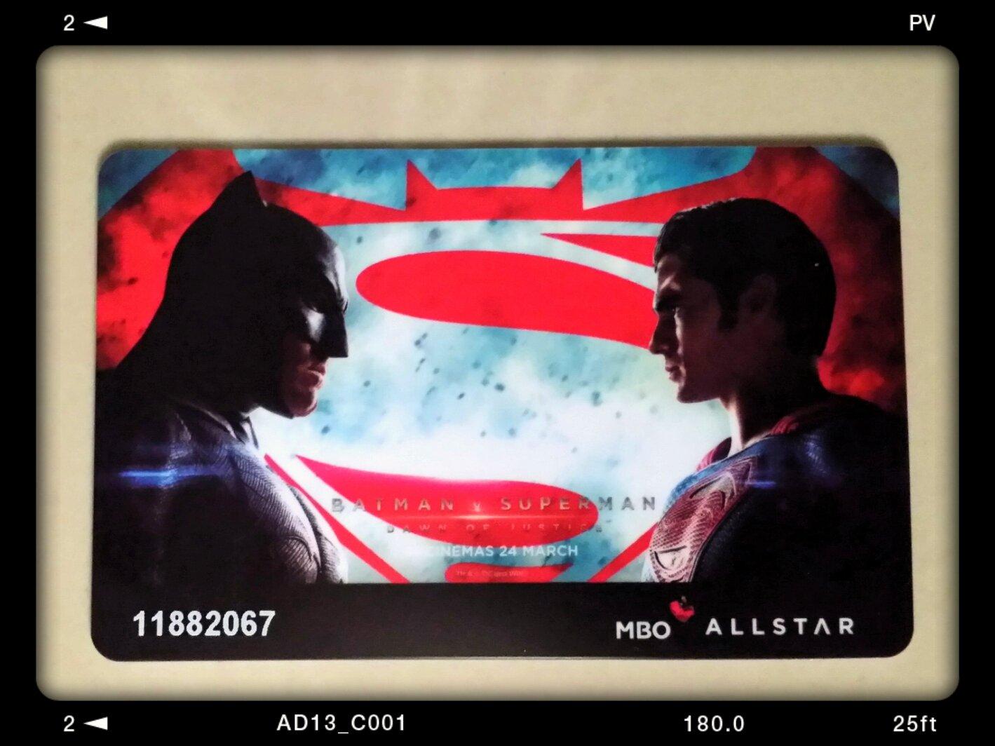 MBO Cinemas' Batman vs Superman: Dawn of Justice special edition membership card