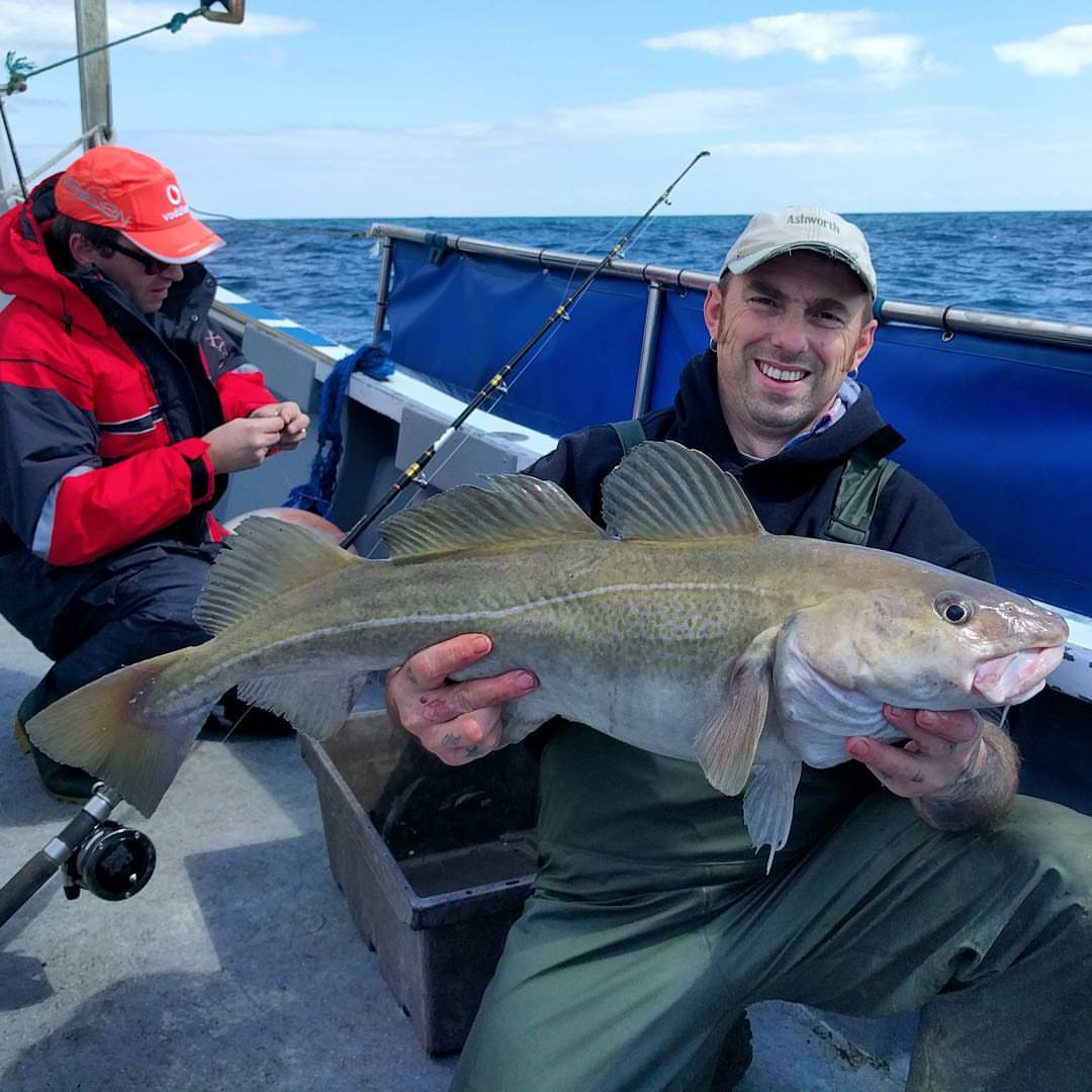 First trip this year for Nick, he's happy with this cod #amarisaweymouth #cod #boatfishing #instagramfishing #seafishing #seafishinguk #fishinguk #ukseafishing #fishing