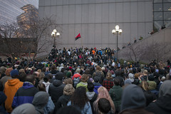 Protesters against the decision to not prosecute the police for the death of Jamar Clark