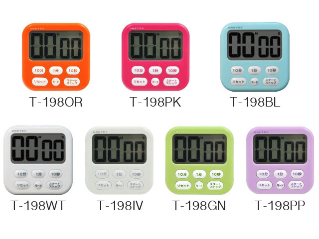 DRETEC T-198大螢幕計時器,七款顏色
