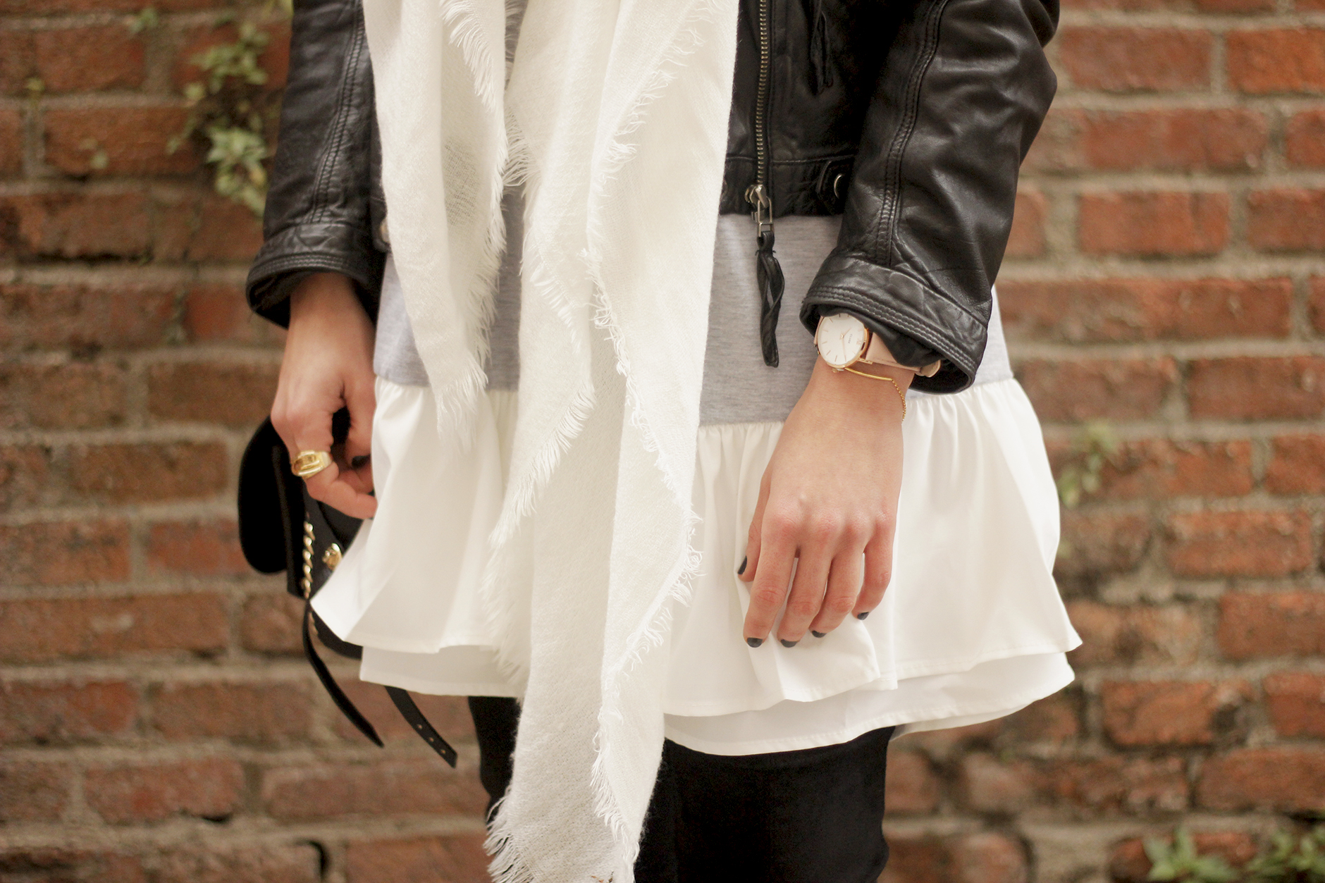Leather Jacket gray dress over the knee boots style outfit fashion coach bag white scarf21