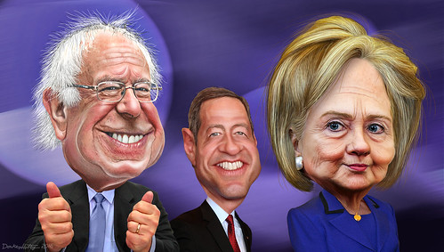 Bernie Sanders, Martin O'Malley and Hillary Clinton - Caricatures