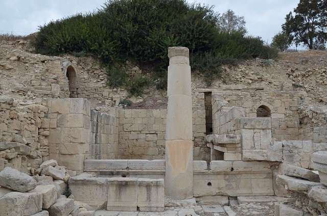 The nymphaeum and reservoir located north of the Agora dating to the Hellenistic period with major repairs done in 118 AD during the early reign of Hadrian, Amathus, Cyprus