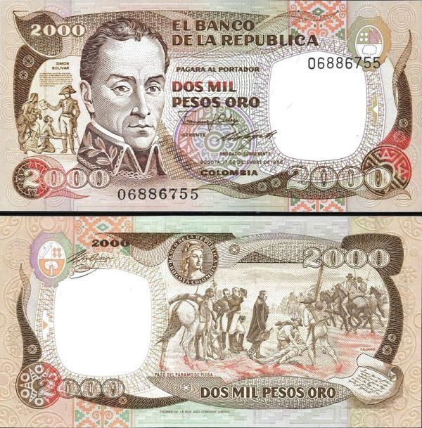 2000 Pesos Kolumbia 1986, P430d