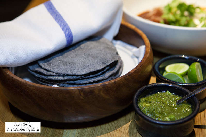 Fresh blue corn tortilla, house made salsa verde, fresh limes