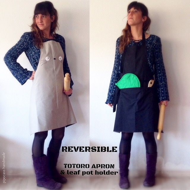 Reversible Totoro apron + leaf pot holder