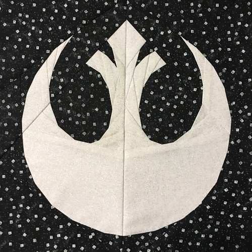 "Star Wars Rebel Alliance logo paper pieced 10"" quilt block designed for fandominstitches.com's #starwarsquiltchallenge"