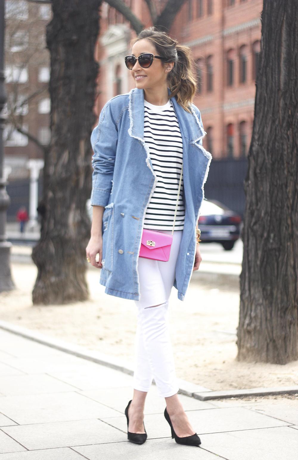 Stripes and Denim Coat Gloria Ortiz Heels Accessories Sunnies Outfit20