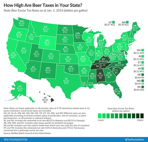Beer excise taxes: state-by-state map 2016