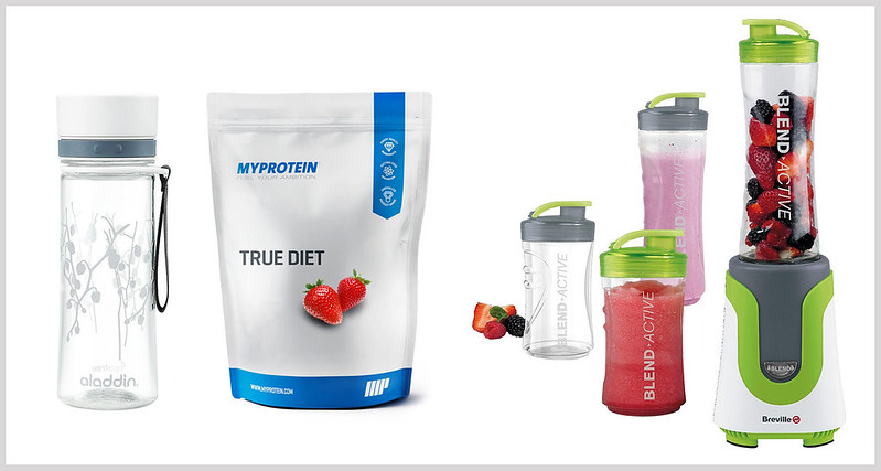 Healthy diet essentials | BPA-free water bottle, whey protein, smoothie blender