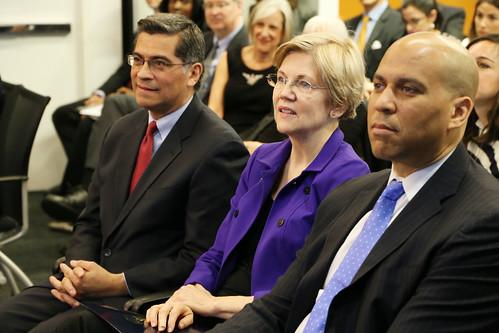 Congressman Xavier Becerra with Senator Elizabeth Warren and Senator Cory Booker