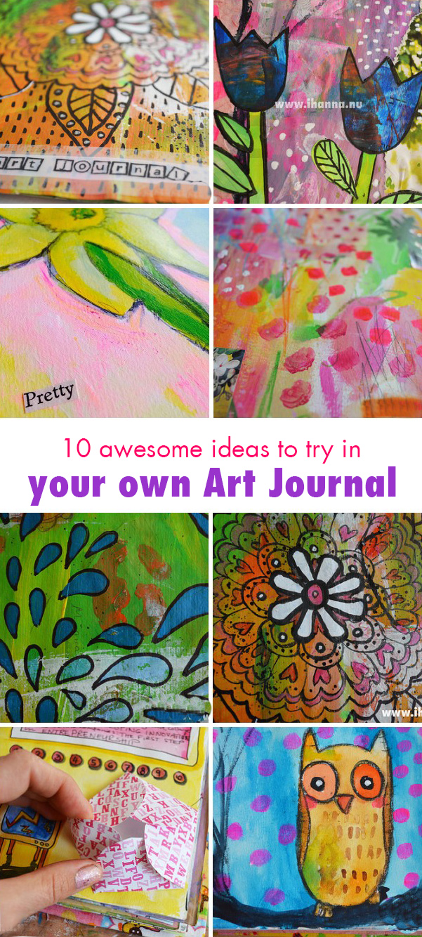 10 awesome art journal ideas from iHanna - try 'em all this week