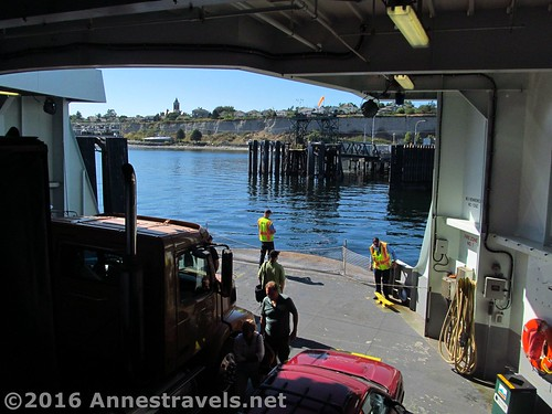 Arriving at the Port Townsend ferry dock, Puget Sound, Washington