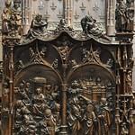 Panneau de la rampe H 110 des stalles de la cathédrale d`Amiens