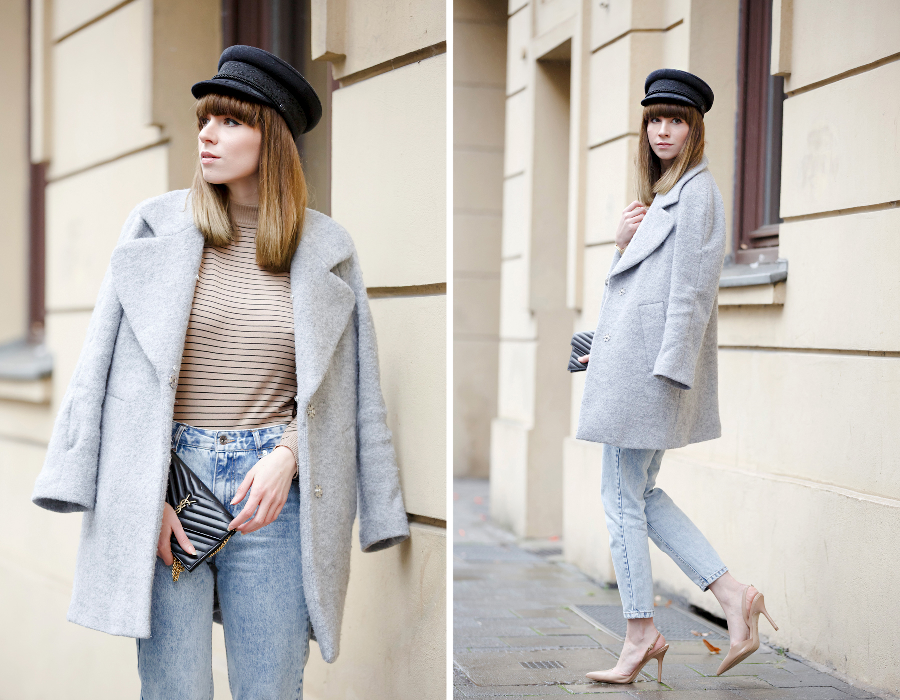 ootd outfit beige nude parisian parisienne mom jeans grey coat winter style spring hat cute girl love sam edelman edited the label pull & bear styleblogger cats & dogs wie hund und katze ricarda schernus blogger dusseldorf berlin 1