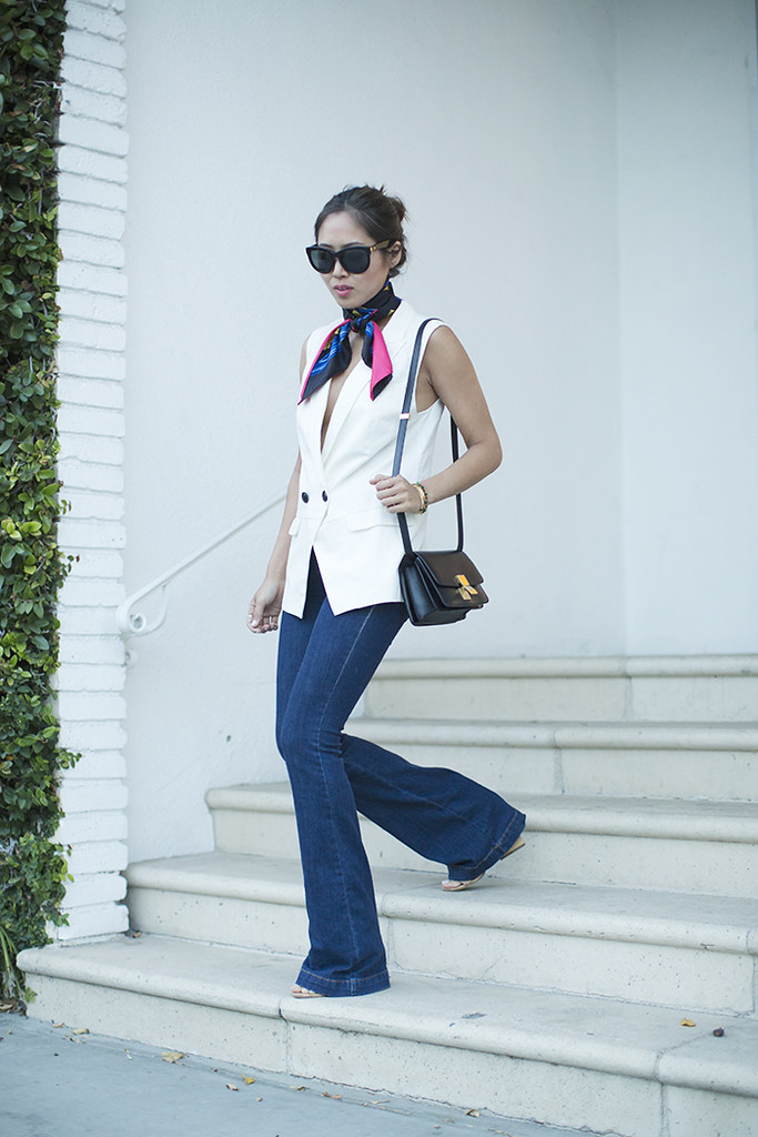 aimee_song_of_style_hermes_scarf_sleeveless_blazer_flare_jeans