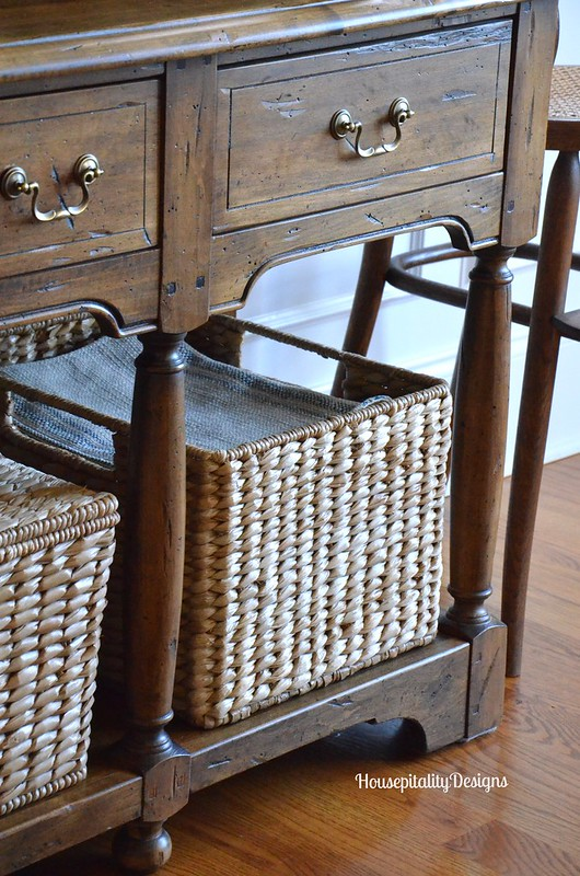 Dining Room Hutch storage baskets - Housepitality Designs
