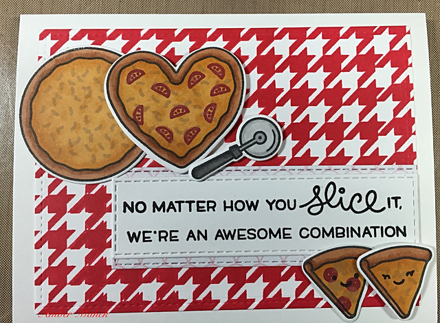 Valentines Day card made using LawnFawn's Pizza my heart stamps and dies.