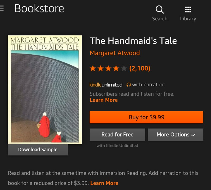 Kindle Unlimited books that you should be reading and listening now - The Handmaid's Tale by Margaret Atwood