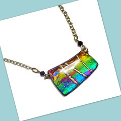 polymer clay Faux Dichroic Pendant