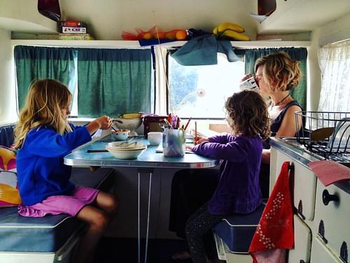 025/365 • second caravan morning with me quaffing tea • #025_2016 #goodmorning #breakfast #8yo #5yo #vintagecaravan #sunliner #Summer2016 #family