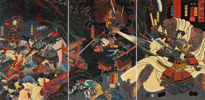 Utagawa Kuniyoshi - Raiko Oeyama iri no zu, 1853