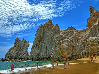 Image of Playa del Amor near Los Cabos. ocean blue sea vacation beach water rock landscape mexico outdoors coast sand cabo nikon rocks waves pacific outdoor scenic july bluesky pacificocean landsend coolpix wife coastline baja bajacaliforniasur 2008 hdr cabosanlucas seaofcortez bcs waterscape rockformation gulfofcalifornia elarco loversbeach gaylene easyhdr p5100