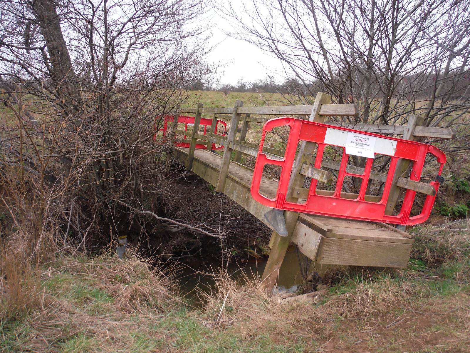 Footbridge in Buxted Park crossing an Uck tributary, lifted by winter flooding SWC Walk 262 Uckfield to Buxted