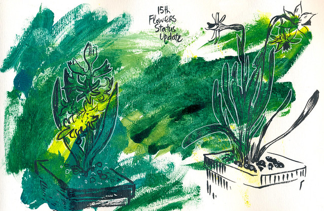 Sketchbook#94: Flowers Status Updates on Pre-painted Backgrounds