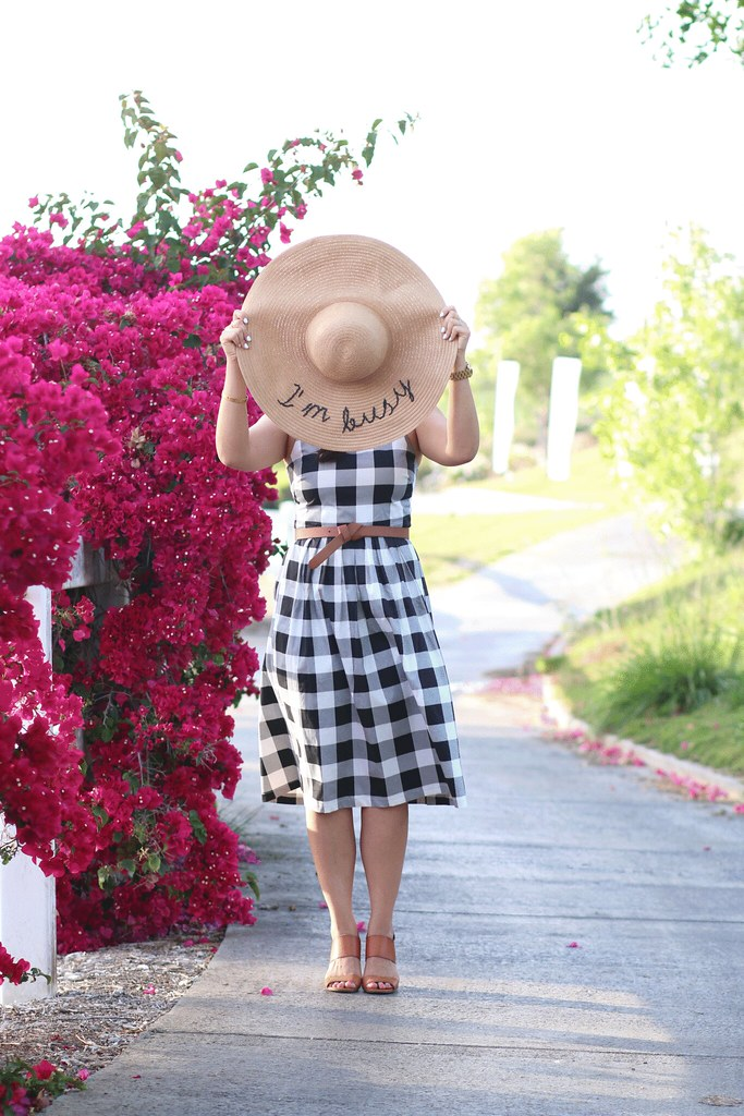 simplyxclassic, miriam gin, asos dress, gingham dress, checkered dress, buffalo plaid dress, summer, spring, floppy hat with text, quote, orange county, blogger, fashion, mommy