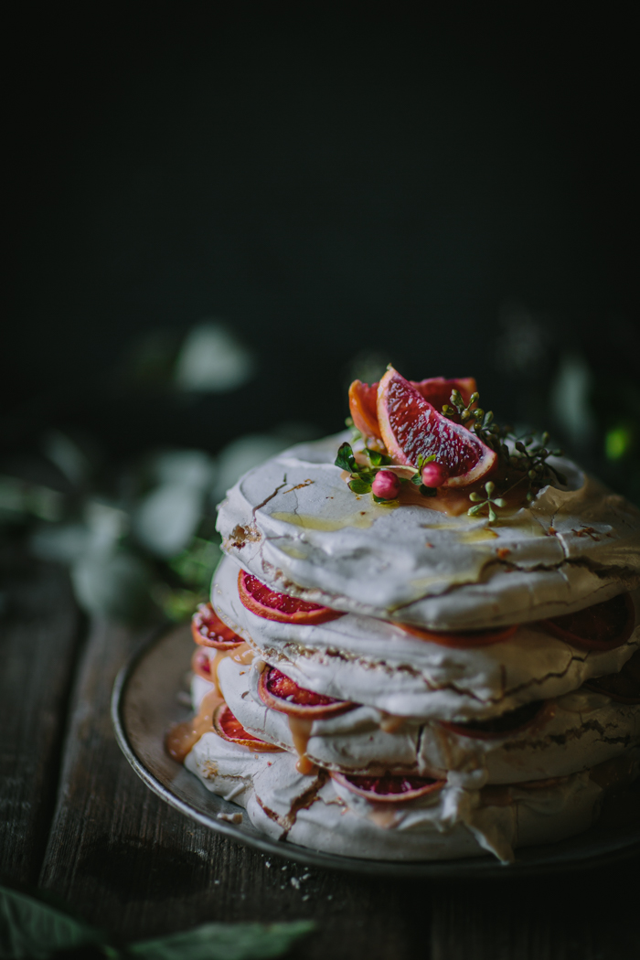 Blood Orannge Olive Oil Meringue Stack by Eva Kosmas Flores